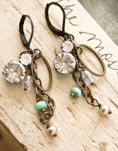 Talia. rhinestone drop, boho,  dangle earrings. Tiedupmemories