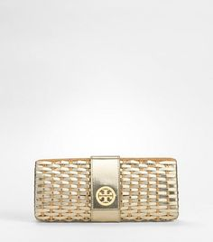 Tory Burch Serif Metallic Clutch | Tory Burch | Pinterest | Action