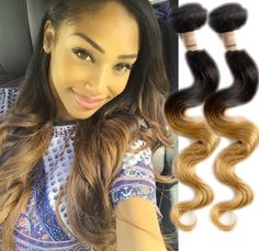 """US Local 12""""12""""12"""" 1b27# Ombre Body Wave 6A Human Hair Extension Remy Hair Weave #WIGISS #HairExtension"""