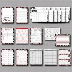 2014 Damask - Family Planner - (24 pages) PDF Printable Files - Instant Digital Download