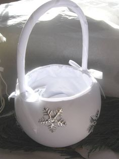 little silver basket for flower girl | Flower Girl s Basket with Snowflakes - Christmas Themed Wedding