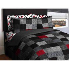 black, grey, white, red bedding walmart.  This kind of looks like something from mine craft.
