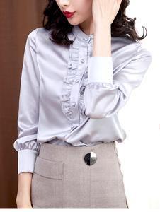 Fashion Women Silk Blouses Elegant Satin Blouse Shirt Office Lady Shirt Ruffle Blouse In 2020 Shirt Blouses Satin Blouse Shirts Ruffle Blouse