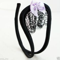 Womens-Sexy-Bow-Lace-Pattern-Open-C-String-Invisible-Thong-Underwear-Panties-OS