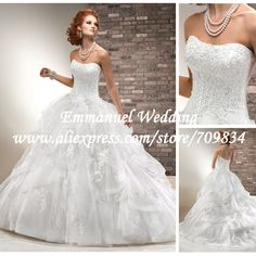 Amazing Pleated Appliques Sprinkle Organza Designer Lace Corset Ball Wedding Dress 2013 Luxury NG800 $234.57