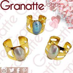 Aros Madre perla (brazalete). Visita nuestra tienda. Somos fabricantes, importadores directos y mayoristas.  Envíos a todo el país. #pearlRing #perlashell #nacar #goldfilledjewelry #ring #anilloperla #treelife #goldfilled