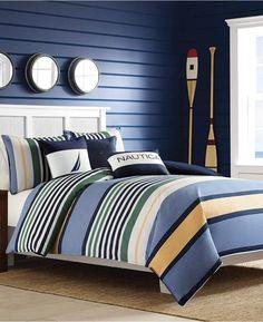 Nautica Closeout! Nautica Dover King Duvet Set Bedding. Looks gorgeous against a blue shiplap wall. Perfect for the beach, cottage or cabin. #cottagestyle #nauticaldecor #beachhousedecor #afflnk