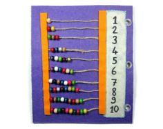 Abacus Quiet Book Page - Learning Game, Basic Math, Fine Motor Skills, Counting, Patterns, Sequencing