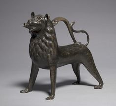 Lion Aquamanile, 1200-1250      Germany, Lower Saxony, Hildesheim, Gothic period, first half 13th century      bronze: cast, chased, and punched,