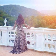 Long elegant cheetah dress