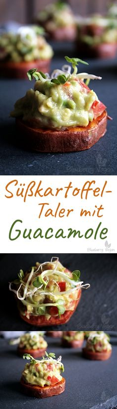 Süßkartoffel-Taler mit Guacamole vegan