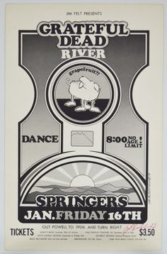 Grateful Dead Springers Poster Signed by Artist. Very early first printing numbered and signed. Estimate $2000-4000