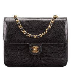 Chanel Vintage Black Lizard Large Mini Flap Bag | From a collection of rare vintage shoulder bags at https://www.1stdibs.com/fashion/handbags-purses-bags/shoulder-bags/