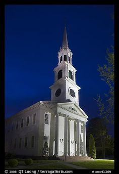 First Congregational Church (1665) at night, Old Lyme. Connecticut, USA