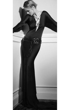 Iconic Tom Ford Gucci FW 2002 Gothic Collection Black Silk Backless Runway Gown image 4