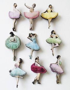 Ballerina Brooch - picture of vintage ballerina decoupaged onto thin wood and laser cut into shape, accented with rhinestones - $12.95 (?) from UK