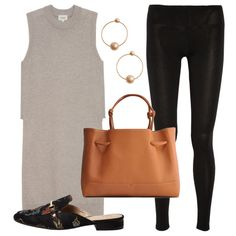 Office Chic - Adapt leggings for work with a high-neck long-line knit that lends coverage. Spruce it up with ball hoop earrings, backless embroidered loafers and a roomy tote.