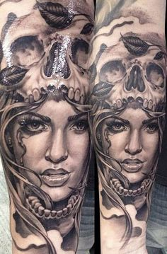 Realistic black and grey lady and skull #tattoo at Eric Marcinizyn, see more of his #tattoos at http://www.inkedmag.com/artists/eric-marcinizyn/