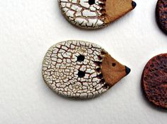 White Crackle Hedgehog. Ceramic Buttons.