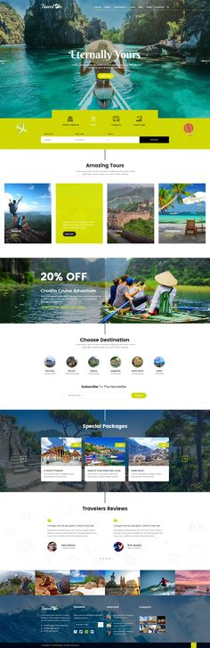 Travelon - PSD template for Tour & Travel Agency. It& easy to customize, all . Travel Agency Website, Travel Website Design, Tourism Website, Travel Design, Travel Website Templates, Website Layout, Web Layout, Web Design Layouts, Website Ideas