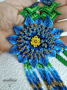 Festive bead jewelry for woman Gift for her Handmade flower Ethnic Jewelry, Bead Jewelry, Beaded Flowers, Blue Flowers, Gifts For Wife, Gifts For Her, Flower Necklace, Beaded Necklace, Bead Loom Designs