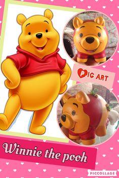 Alcancias pintadas a mano Pig Art, Piggy Bank, Winnie The Pooh, Disney Characters, Fictional Characters, Creative, Ideas, Pigs, Felt Flowers