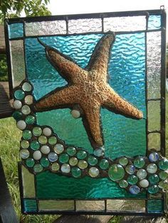 "Stained Glass Tropical Sea Beach Starfish Suncatcher Panel Tiffany St 11""x 14"""