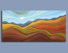 abstract painting, abstract landscape, prairie painting, harvest, artwork on canvas  by Sage Mountain Studio