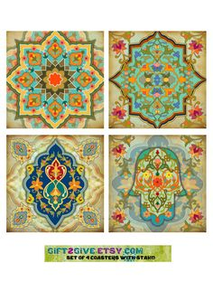 Coaster Set of 4 Moroccan Mediterranean Design by gift2give, $19.95