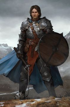 Art featuring medieval knights and their fantasy/sci-fi counterparts. Fantasy Warrior, Fantasy Male, Fantasy Rpg, Medieval Fantasy, Fantasy Portraits, Character Portraits, Fantasy Artwork, Dungeons And Dragons Characters, Dnd Characters