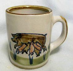 LOUISVILLE STONEWARE  FARM SUCKLING PIGLETS w/ MOTHER PIG COFFEE/TEA MUG-MINT