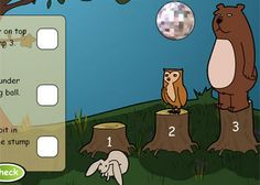 Woodland Disco. An fun, animal and DISCO themed classroom activity designed for use on an interactive whiteboard. Use to check the pupils' understanding of positional language.