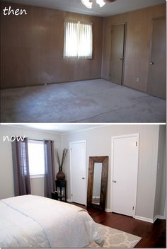 Master bedroom before and after, gray walls