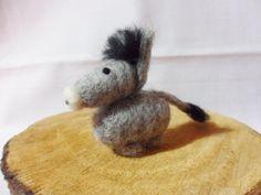 Needle Felted Donkey -  miniature donkey figure - 100% Corriedale wool - wool felt donkey.