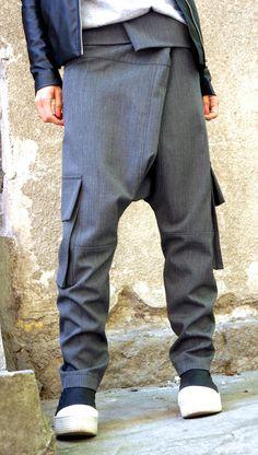 NEW Light Grey Drop Crotch Pants / Extravagant Light by Aakasha