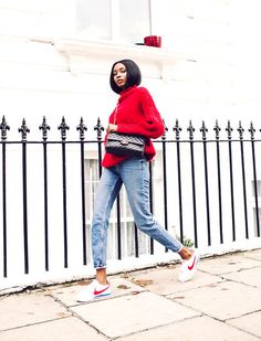 How To Rock The Red Sweater & Denim Look