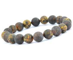 Amber S Beaded Bracelet For Guys Made Of Matte Dark Baltic Beads
