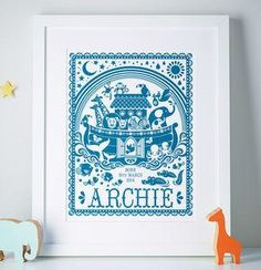 Personalised Noah's Ark Print - Give a Christening gift that shows they are truly cherished. Thoughtful and original, lots of the products can be personalised as they are created by talented independent designers or small creative businesses.