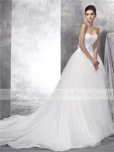 Sleeveless Strapless Sweetheart Beaded Lace Applique Bult Belt