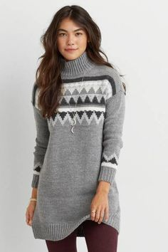 AEO Mock Neck Sweater Dress by AEO | Your favorite sweater meets a cozy dress for true style.  Shop the AEO Mock Neck Sweater Dress and check out more at AE.com.