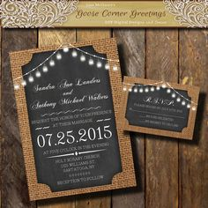 BURLAP Wedding Invitation// Bell String by GooseCornerGreetings
