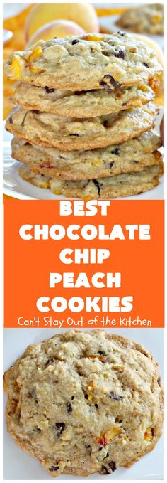 Best Chocolate Chip Peach Cookies – Can't Stay Out of the Kitchen Mrs Fields Chocolate Chip Cookies, Chocolate Chip Blondies, Best Chocolate Chip Cookie, Chocolate Cookies, Chocolate Work, Semi Sweet Chocolate Chips, Spice Cookies, Fun Cookies, Cookie Recipes