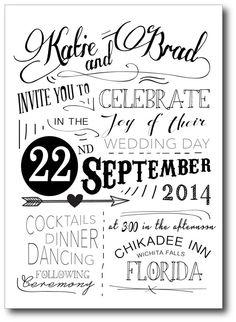 Modern Typography Wedding Invitation and RSVP by LaneLoveDesign