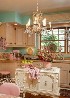 |omg|in|love|girly|kitchen|pink|baroque|lifestyle|chandeliers|loveit|homey|
