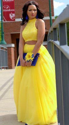 two piece prom dresses,unique prom dresses,yellow prom dresses,prom dresses for teens,2017 prom dresses @simpledress2480