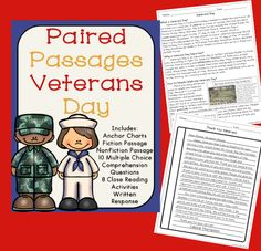 Veterans Day Reading Comprehension Passages with Questions and Close Reading Activities - Great for 3rd, 4th, or 5th grade classrooms.
