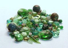 Mixed Lot of 4 Oz. of Beads in Green by BeadsFromHaven on Etsy, $5.10