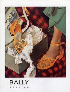 Bally (Shoes) 1948 Brenot  shoes#advertising#fashion#bally