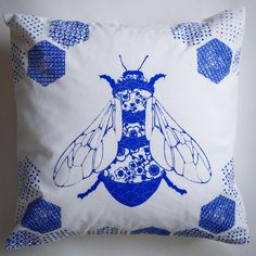Porcelain Bee hand printed cushion cover by Thistlemoss on Etsy