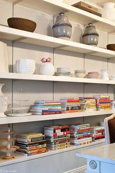 Former Manhattan townhome of Billy Joel and Katie Lee Joel #shelves #cookbooks